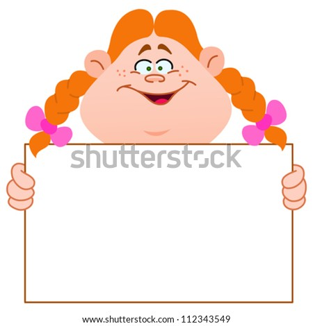 Young redhead girl carrying a blank sign