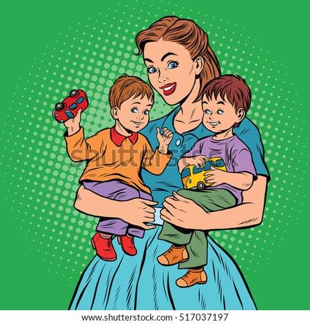 Young retro mom with two children boys, pop art retro vector illustration