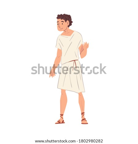Young Roman Man in Traditional Clothes, Ancient Rome Citizen Character in White Tunic And Sandals Vector Illustration Foto stock ©