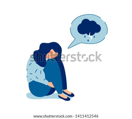 Young sad girl sitting and unhappy hugging her knees and cry. Woman in depression with gloomy thoughts in speech bubble