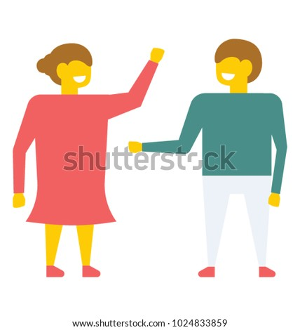 Young schoolfellows. A happy girl and a boy giving low five to each other, flat vector icon