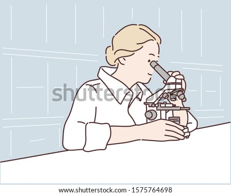 Young scientist looking through a microscope in a laboratory. Young scientist doing some research. Hand drawn style vector design illustrations. Stockfoto ©