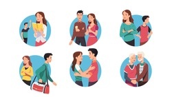 Young & senior couple relationship set. Men & women cartoon characters meeting, dating, quarreling, breaking up, embracing, holding hands. Love, romance & date. Flat vector isolated illustration