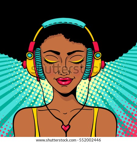 Young sexy afro american woman with closed eyes in headphones listening to the music and singing with a smile. Vector colorful background in pop art retro comic style. Party invitation poster.