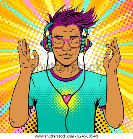 Young sexy man with wide smile and closed eyes in bright glasses and headphones listening to the music. Vector colorful background in pop art retro comic style. Party invitation poster.