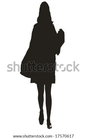 young sexy woman walking silhouette - isolated vector illustration