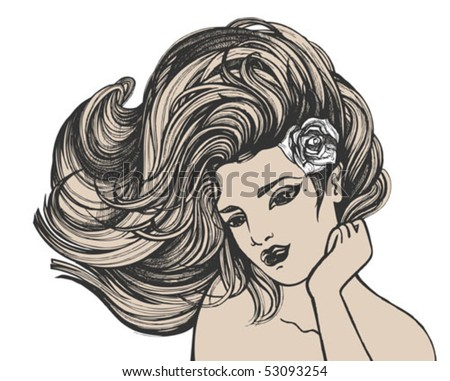 stock vector : Young sexy woman with long hair drawing