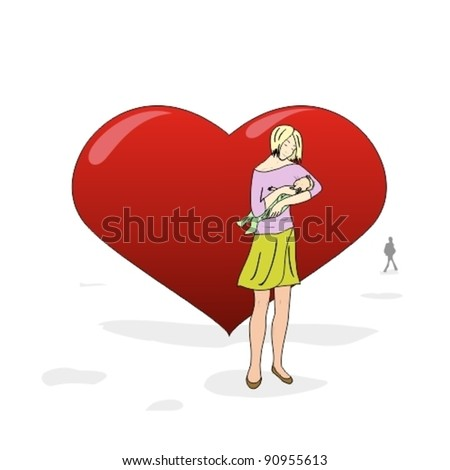 young single mother with her baby near a large heart
