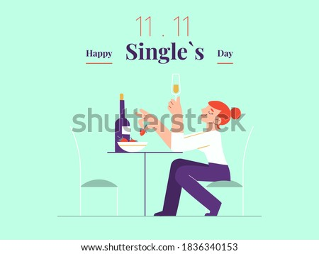 Young single woman is celebrating Singles day - November 11 - with white wine and strawberry banner template. Holiday for bachelors, which opens Chinese shopping season. Social and cultural trends. Foto stock ©