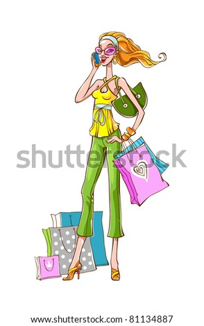 Young slim girl in modern clothes is talking by mobile phone. Some bags with purchases are near her. She is happy buyer.