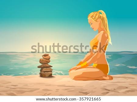 young slim woman on sea beach