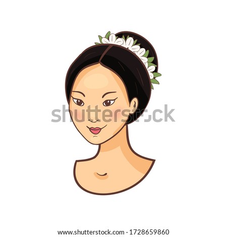 Young smiling beautiful asian woman Female face girl icon Isolated on a white background. Vector Illustration.