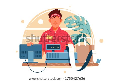 Young smiling man cash register at the workplace in supermarket, shop. Concept funny male employee cashier, worker using modern technology at workspace. Vector illustration.