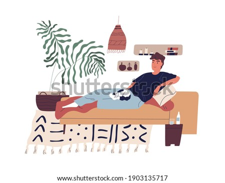 Young smiling man relaxing on sofa with cat on his knees. Happy guy spending leisure time alone at home doing nothing at weekend. Colorful flat vector illustration isolated on white background Stock photo ©