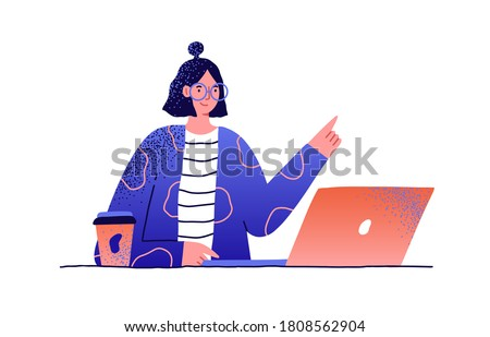 Young smiling woman working at table on laptop. Female in glasses at workplace with paper cup of coffee. Scene of freelance or office job. Flat vector cartoon illustration isolated on white background