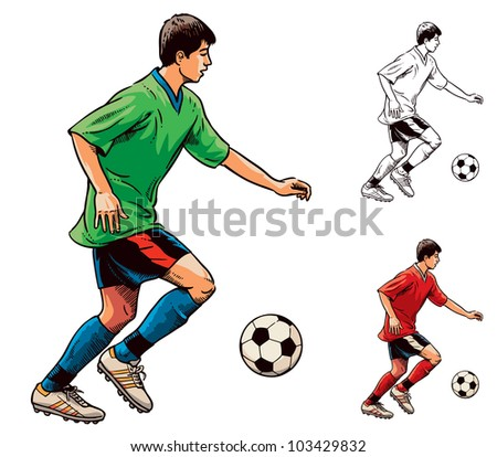 Young soccer football player in motion. Vector illustration