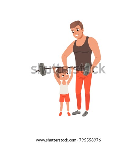 young sporty father helping his