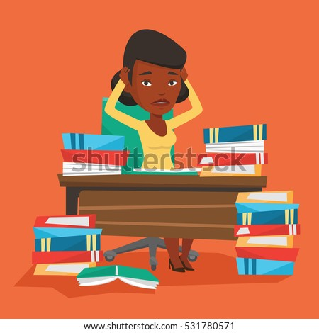 Young stressed student studying with textbooks. An african-american student studying hard before exam. Desperate female student studying in the library. Vector flat design illustration. Square layout.