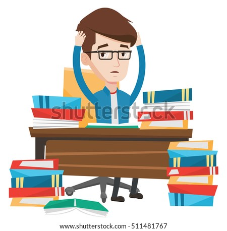 Young stressed student studying with textbooks. Caucasians student studying hard before exam. Desperate student studying in the library. Vector flat design illustration isolated on white background.