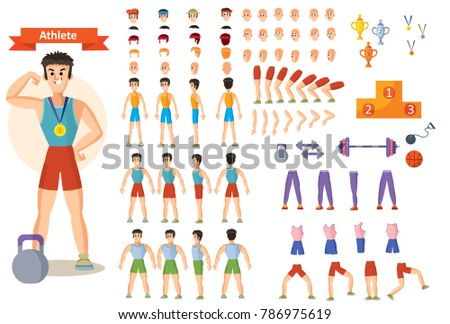 Young strong man athlete, weightlifter or bodybuilder in sportswear vector illustration. Character creation set. Different body types, emotions, hairstyles, hands, sports equipment. Build your design
