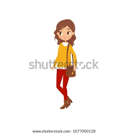 young student girl in sweater