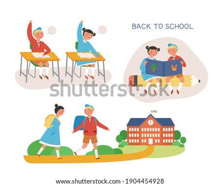Young students characters going to school. Classmates in the classroom, read books together, and go to school. flat design style minimal vector illustration. Foto stock ©