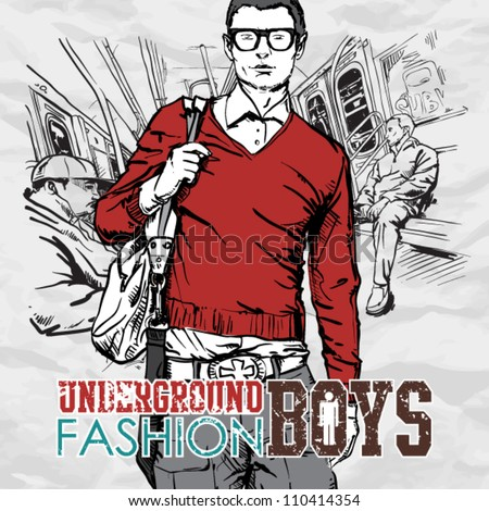Young stylish dude in a train. Vector illustration. - stock vector