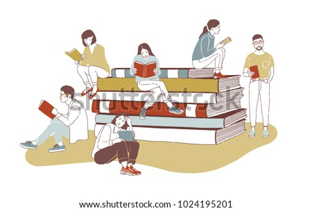 Young stylish male and female readers dressed in trendy apparel sitting on stack of giant books or beside it and reading. Literature fans or lovers. Colored vector illustration in contemporary style.