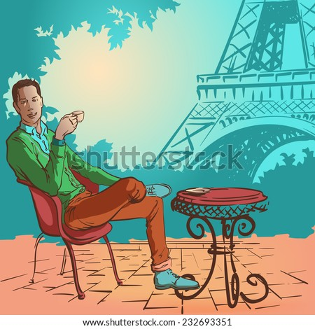 Young stylish man sitting in the street cafe in Paris and enjoying his morning coffee. EPS10 vector illustration.