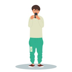 Young stylish man taking a photo with his smartphone.Vector illustration on white background in cartoon style
