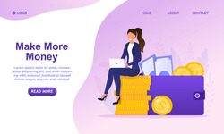 Young Successful Business Woman sitting a stack of coins and looks at the laptop. Female makes money online. Financial independence. Increasing income. Successful investor or entrepreneur. Flat Vector