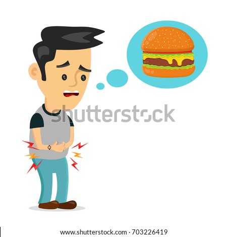 Young suffering sad man is hungry. thinks about food, fast food, burger. Vector flat cartoon illustration icon design. Isolated on white background. Hungry concept