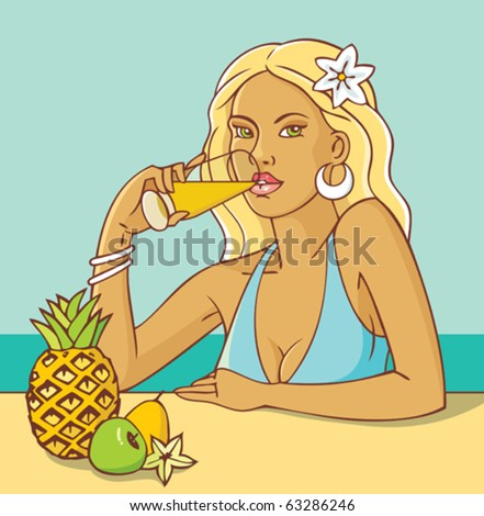 Young tanned woman drinking fruit juice on the seaside