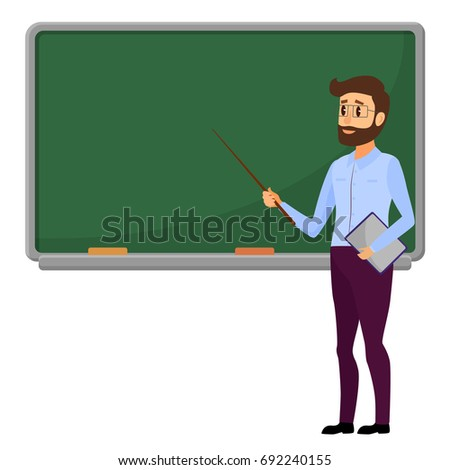 Young Teacher standing in front of blank school blackboard vector illustration. Male school teacher near green blackboard.