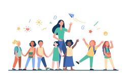Young teacher with joyful kids isolated flat vector illustration. Cartoon happy children in kindergarten or school. Pedagogy and education concept