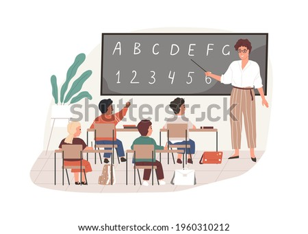 Young teacher with pointer at chalkboard in classroom. Elementary school children studying in class room. Colored flat vector illustration of pedagogue and pupils isolated on white background