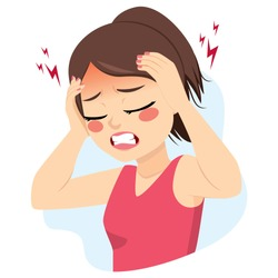 Young teenager woman suffering migraine headache problem holding head with hands