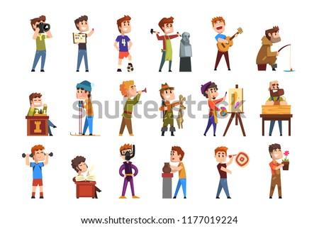Young teenagers hobby set. Cartoon kids characters. Collecting stamps, football, chess, photography, sports, diving, playing trumpet, poetry. Flat vector