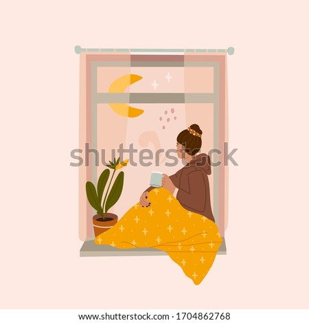 Young thoughtful woman drinking tea or coffee and looking through window while sitting on windowsill at home with cozy blanket. Hand drawn colored Vector illustration. Thinking, meditating concept