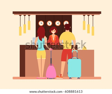 Young tourist couple in the hotel reception. Vector illustration