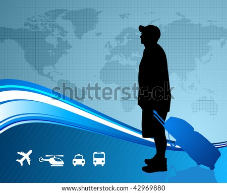 young traveler with world map Original Vector Illustration