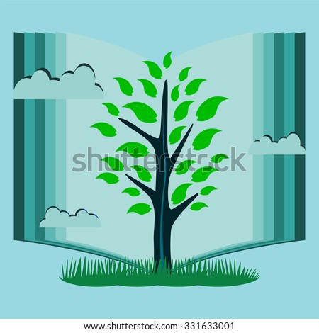 young tree with green leaves in