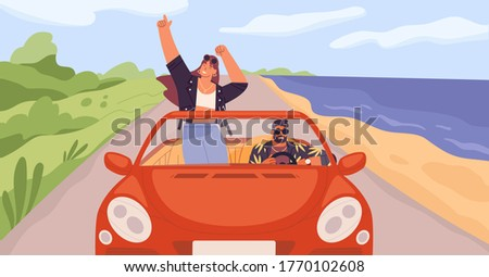 Young trendy happy hipster couple in love having trip along country road by red cabriolet. Laughing dancing stylish girl and driving boy at summertime vacation in flat vector cartoon illustration