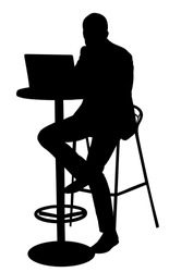 Young urban professional man working on laptop in city restaurant office vector silhouette. Employee looking at computer monitor during working in office. Officer in suit sitting and analyzes finance.