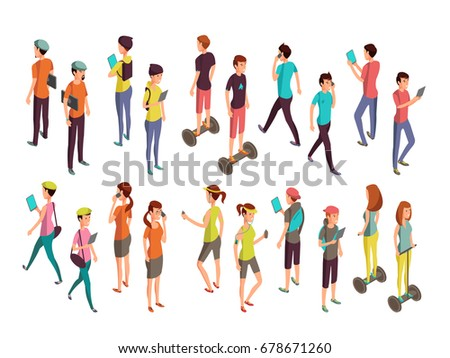 Young vector people with laptops and phones. Isolated isometric teenagers in casual clothes for computer technology concept. People with device laptop and phone illustration