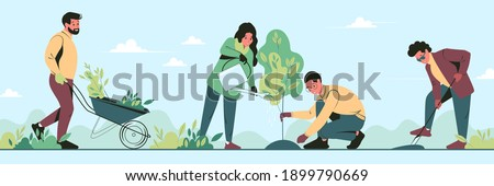Young volunteers plant trees in city park in the spring. Group people work together to improve the environment. Flat vector illustration