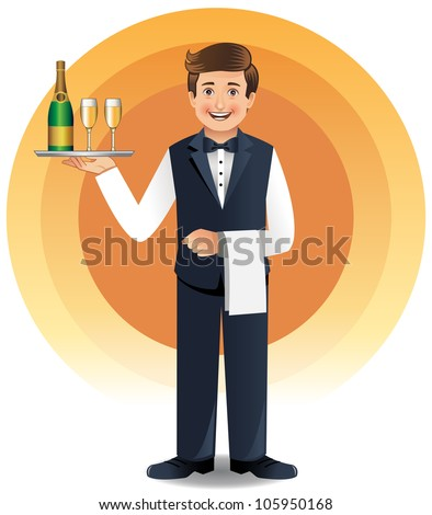 Young waiter in uniform serving champagne