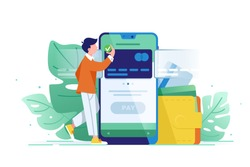 Young wealthy man pays card using mobile payment. Concept visa, web, modern, mobile translation. Vector illustration.