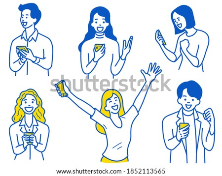 Young woman and man, holding smartphone, are excited, surprised with happy expression. Outline, thin line art, hand drawn sketch design, simple style.
