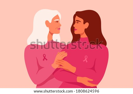 Young woman and senior woman with pink ribbons stand together. Breast Cancer awareness month concept of support and solidarity with women fighting oncological disease. Vector illustration